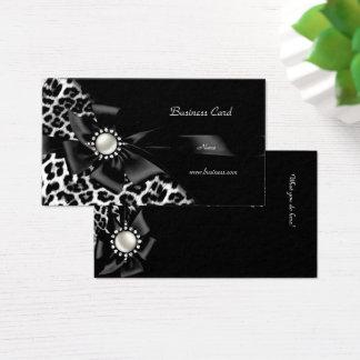 Eleganter Leopard-Schwarz-Silber-Diamant Visitenkarte