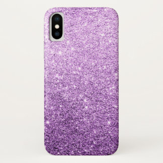 Eleganter lila Glitzer-Luxus iPhone X Hülle