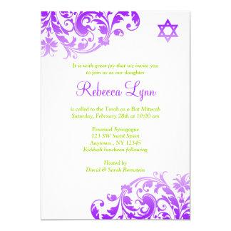 Eleganter lila Ombre blühen Schläger Mitzvah 12,7 X 17,8 Cm Einladungskarte