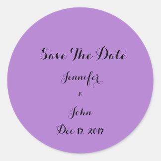 Eleganter lila Save the Date personalisierter Runder Aufkleber
