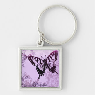 Eleganter lila Schmetterlings-Polterabend Silberfarbener Quadratischer Schlüsselanhänger