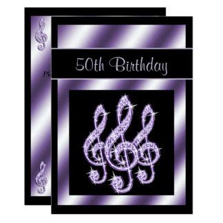 Eleganter, Luscious lila dreifache Clefs-50. 12,7 X 17,8 Cm Einladungskarte