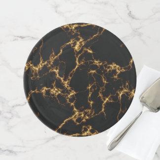 Eleganter Marmor style3 - schwarzes Gold Tortenplatte