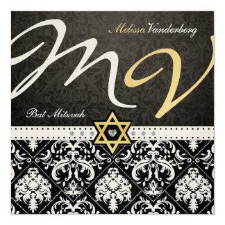 Eleganter metallischer Golddamast-Schläger Mitzvah Einladungskarte
