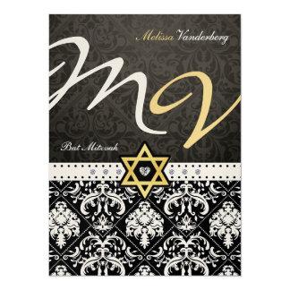 Eleganter metallischer Golddamast-Schläger Mitzvah Personalisierte Ankündigungskarte