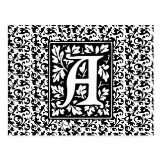 Eleganter mittelalterlicher Buchstabe ein antikes Postkarte
