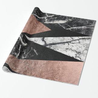 Eleganter moderner Marmor, Rosen-Gold u. schwarzes Geschenkpapier