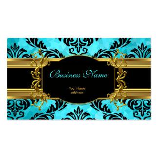 Eleganter nobler aquamariner blauer Golddamast mit Visitenkarte
