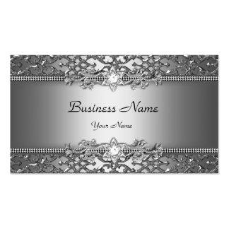 Eleganter nobler silbernes Grau-Damast Visitenkartenvorlage