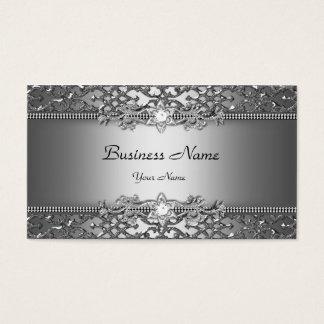 Eleganter nobler silbernes Grau-Damast Visitenkarten