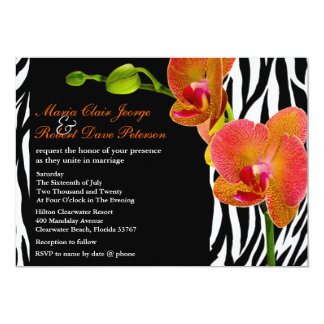 Eleganter Orchideenzebra-Druck-moderne Hochzeit 12,7 X 17,8 Cm Einladungskarte