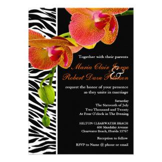 Eleganter Orchideenzebra-Druck-moderne Hochzeit Individuelle Ankündigung