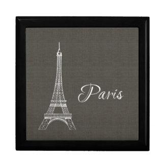 Eleganter Paris-Eiffelturm-dunkelgrauer Große Quadratische Schatulle