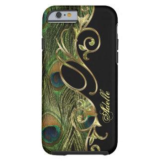 Eleganter Pfau goldenes Iphone 6 Monogramm Tough iPhone 6 Hülle