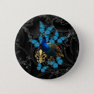 Eleganter Pfau und blaue Schmetterlinge auf Runder Button 5,7 Cm
