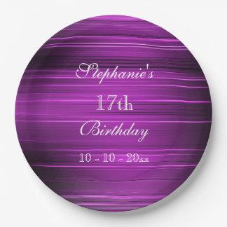 Eleganter psychedelischer lila 17. Geburtstag Pappteller