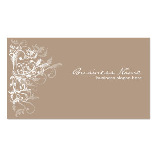 Eleganter Retro weißer Blumen-Wirbel hellbraun Visitenkarten