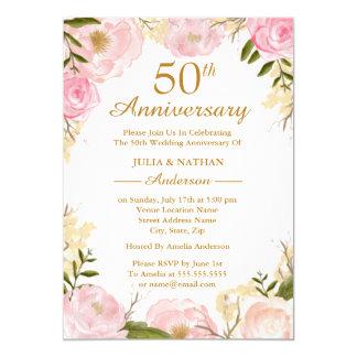 Eleganter rosa Blumen50. Hochzeitstag Karte