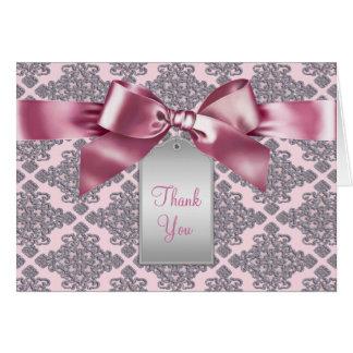 Eleganter rosa Damast danken Ihnen Karten