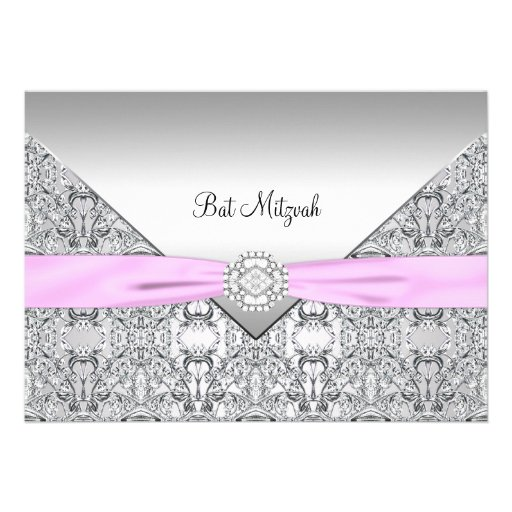 Eleganter rosa Schläger Mitzvah Personalisierte Einladungskarten