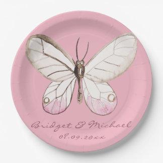 Eleganter rosa Schmetterlings-personalisierte Pappteller