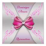 Eleganter rosa silberner Diamant-Bogen Quinceanera Quadratische 13,3 Cm Einladungskarte