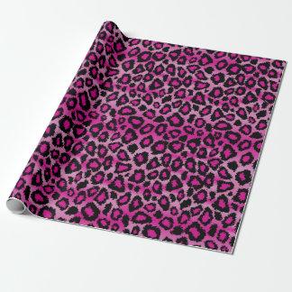 Eleganter rosa und schwarzer Leopard-Druck Geschenkpapier
