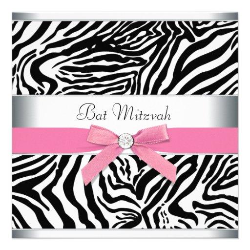 Eleganter rosa Zebra-Schläger Mitzvah Individuelle Ankündigungskarte