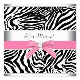 Eleganter rosa Zebra-Schläger Mitzvah Quadratische 13,3 Cm Einladungskarte