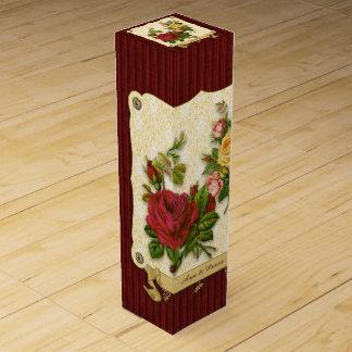 Eleganter roter gelber Rosen-Damast-Vintage Weinbox