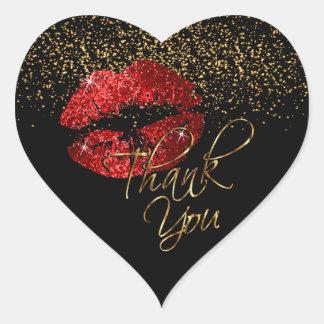 Eleganter roter Glitter Lipcolor - danke Herz-Aufkleber