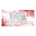 Eleganter roter Schneeflocke-Weihnachtsbrauch Photo Grußkarte