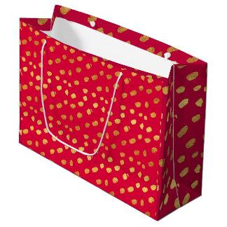Eleganter Rotund GoldConfetti Große Geschenktüte