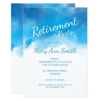 Eleganter Ruhestands-Party-Sommer-BlauWatercolor 12,7 X 17,8 Cm Einladungskarte