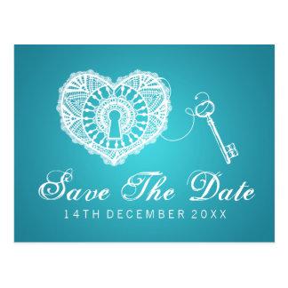 Eleganter Save the Date Schlüssel zu meinem Postkarten