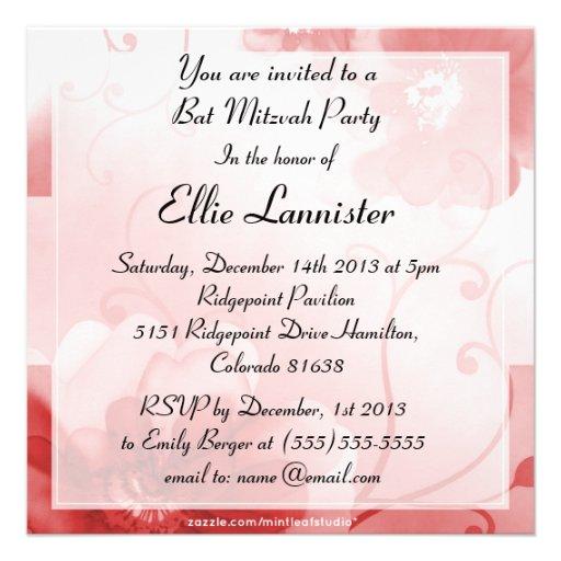 Eleganter Scarlet-und Grau-Blumen-Schläger Mitzvah Einladung