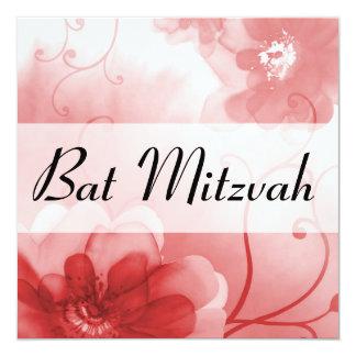 Eleganter Scarlet-und Grau-Blumen-Schläger Mitzvah Quadratische 13,3 Cm Einladungskarte