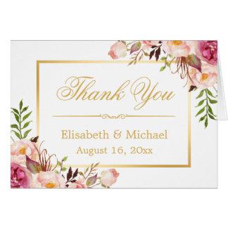 Eleganter schicker Blumengoldrahmen danken Ihnen Mitteilungskarte