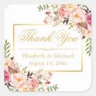 Eleganter schicker Blumengoldrahmen danken Ihnen Quadratischer Aufkleber