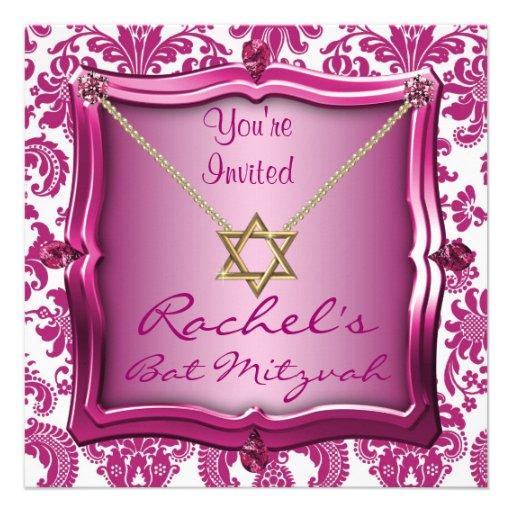 Eleganter Schläger Mitzvah Einladungs-Davidsstern Personalisierte Ankündigungskarten