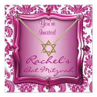 Eleganter Schläger Mitzvah Einladungs-Davidsstern Quadratische 13,3 Cm Einladungskarte
