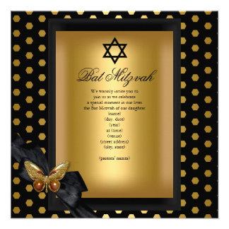 Eleganter Schläger Mitzvah GoldFleck-Schmetterling Einladungen