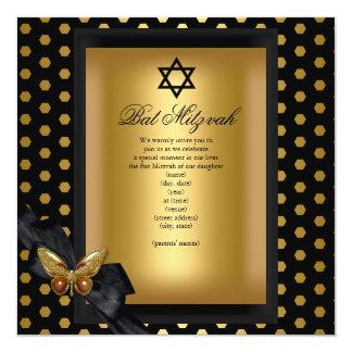 Eleganter Schläger Mitzvah GoldFleck-Schmetterling Quadratische 13,3 Cm Einladungskarte