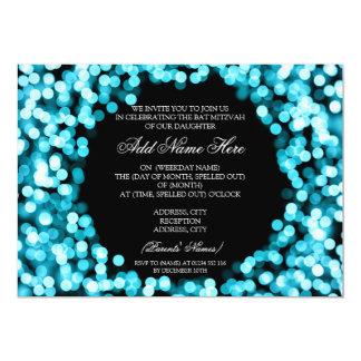 Eleganter Schläger Mitzvah Türkis-funkelnd Lichter 12,7 X 17,8 Cm Einladungskarte