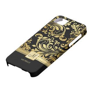 Eleganter Schwarz-u. Golddamast mit Monogramm Hülle Fürs iPhone 5