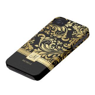 Eleganter Schwarz-und Golddamast mit Monogramm iPhone 4 Hüllen
