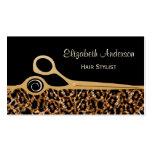 Eleganter Schwarz-und Goldleopard-Friseursalon Visitenkarten