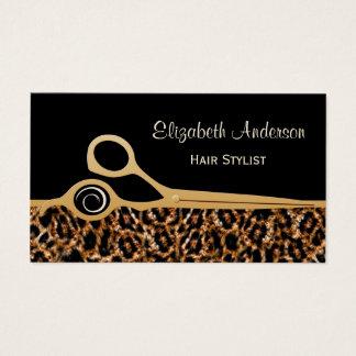 Eleganter Schwarz-und Goldleopard-Friseursalon Visitenkarte