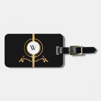Eleganter Schwarz-und Goldmonogramm-Entwurf | Gepäckanhänger
