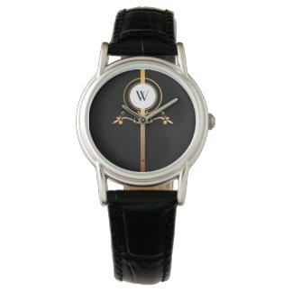 Eleganter Schwarz-und Goldmonogramm-Entwurf | Uhr